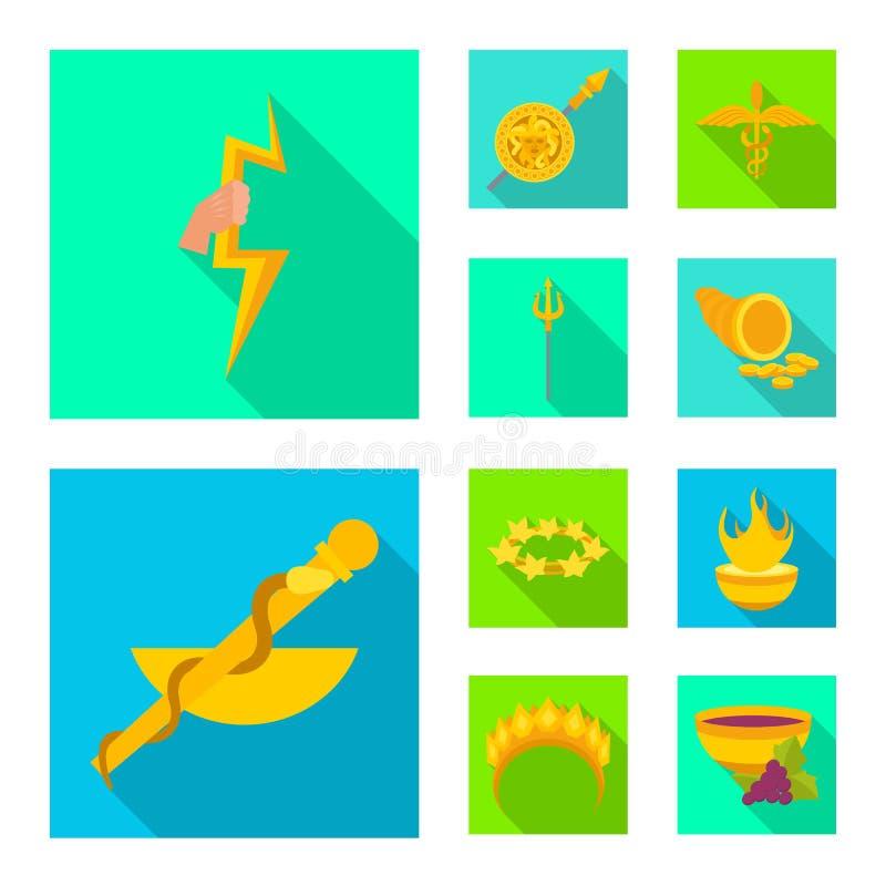 Geïsoleerd voorwerp van deity en antiek pictogram Inzameling van deity en mythen vectorpictogram voor voorraad stock illustratie