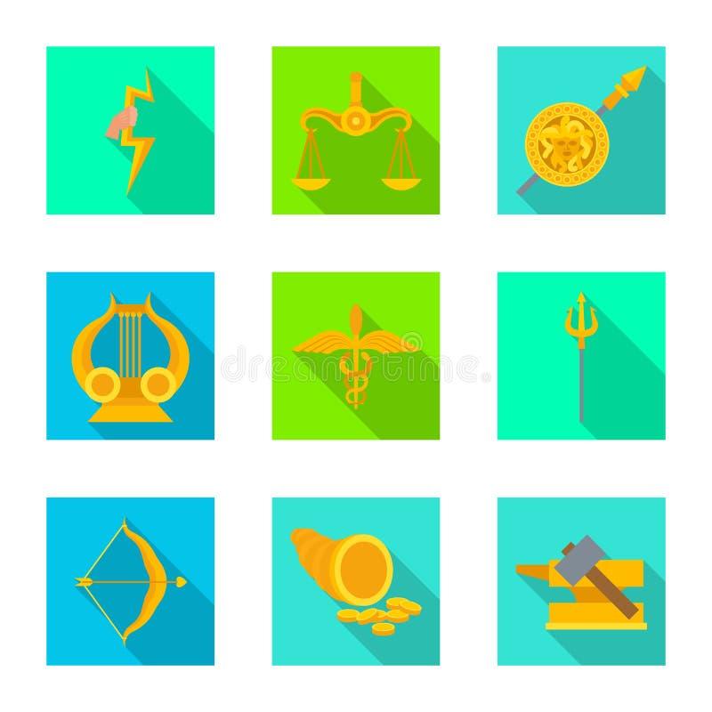 Geïsoleerd voorwerp van deity en antiek symbool Inzameling van deity en mythen vectorpictogram voor voorraad royalty-vrije illustratie