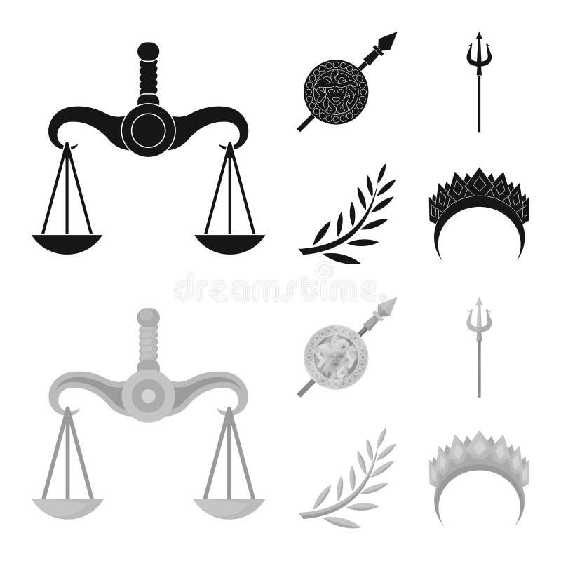 Geïsoleerd voorwerp van deity en antiek symbool Reeks van deity en van de mythenvoorraad vectorillustratie stock illustratie