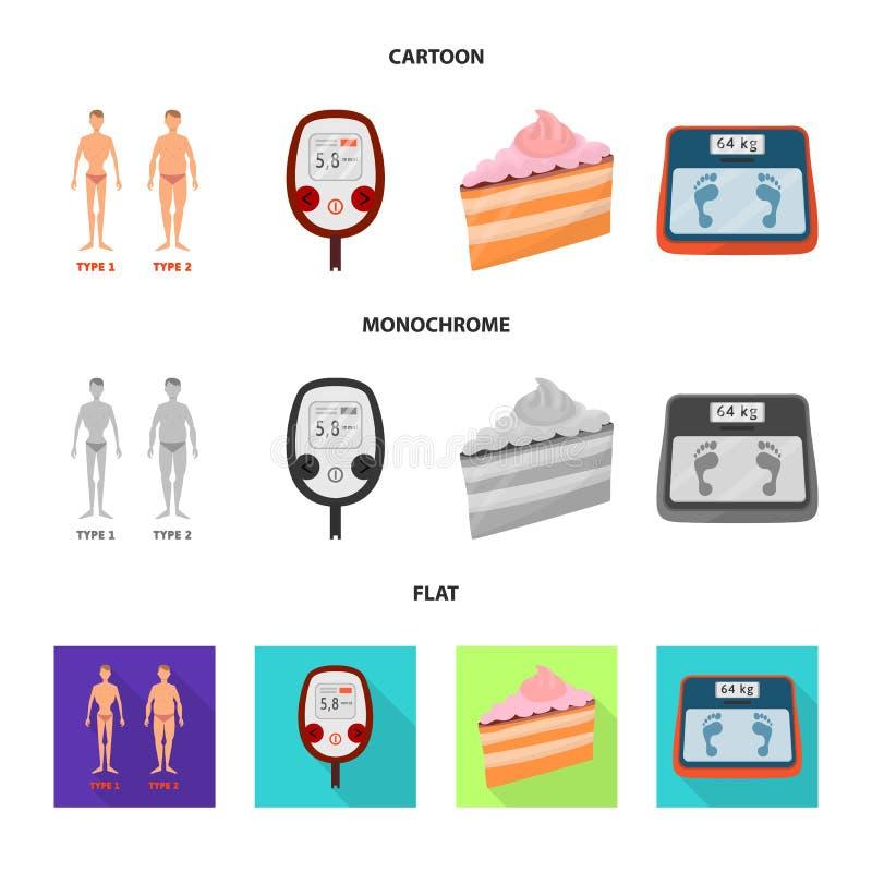 Geïsoleerd voorwerp van dieet en behandelingsembleem Inzameling van dieet en het symbool van de geneeskundevoorraad voor Web stock illustratie