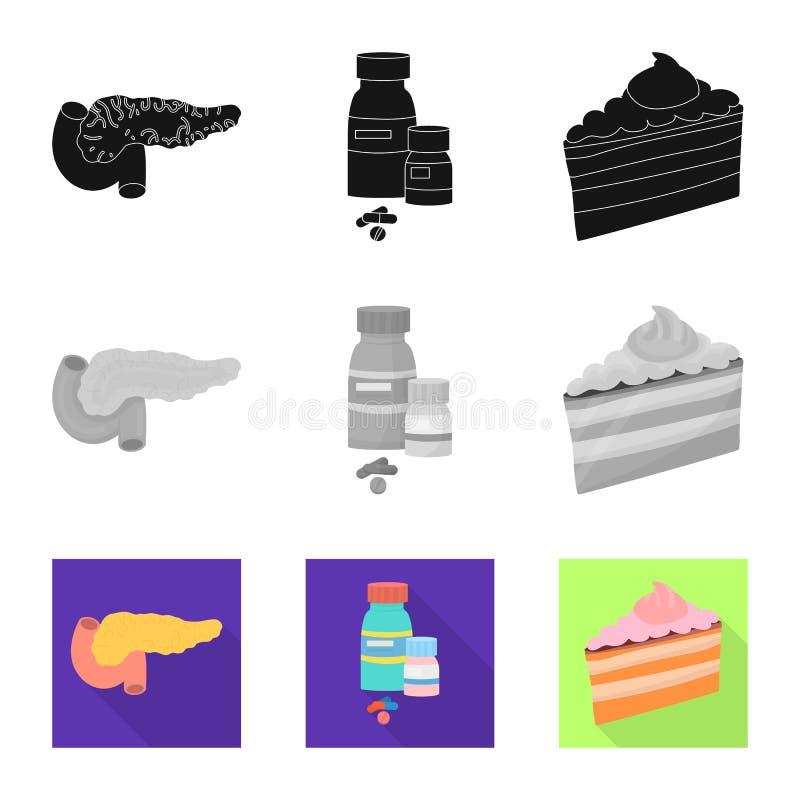 Geïsoleerd voorwerp van dieet en behandelingsembleem Reeks van dieet en de vectorillustratie van de geneeskundevoorraad stock illustratie