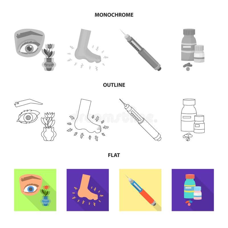 Geïsoleerd voorwerp van dieet en behandelingsteken Inzameling van dieet en geneeskunde vectorpictogram voor voorraad vector illustratie