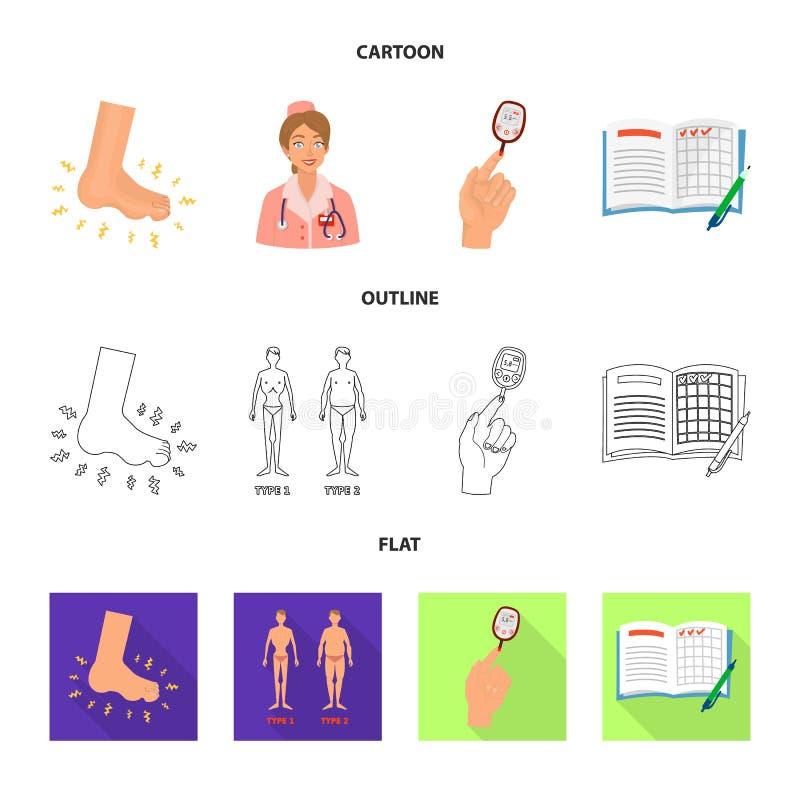 Geïsoleerd voorwerp van dieet en behandelingsteken Inzameling van dieet en het symbool van de geneeskundevoorraad voor Web stock illustratie