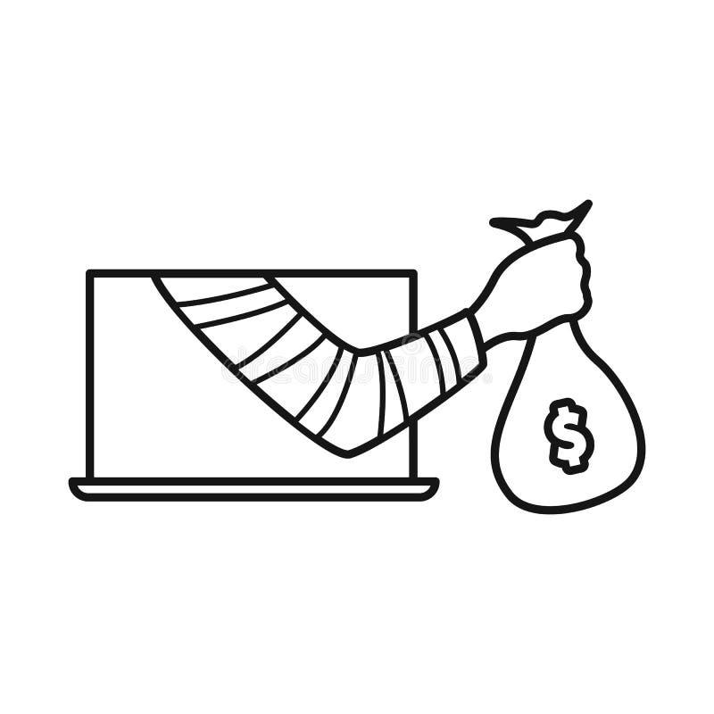 Geïsoleerd voorwerp van diefstal en handpictogram Inzameling van diefstal en geld vectorpictogram voor voorraad royalty-vrije illustratie