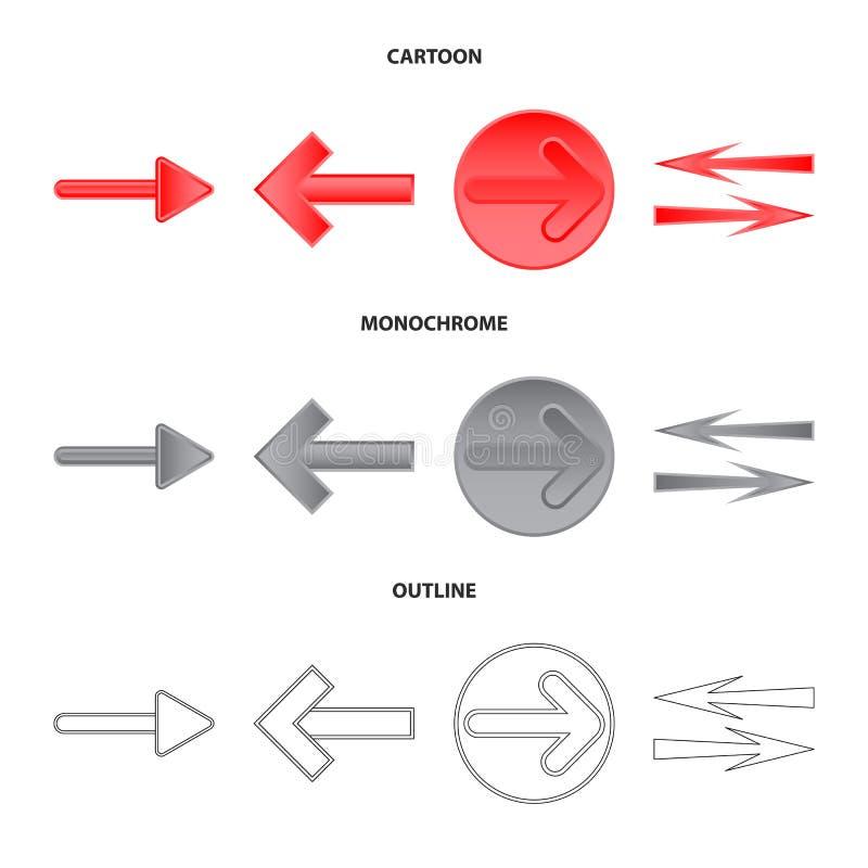 Geïsoleerd voorwerp van element en pijlembleem Reeks van element en richtingsvoorraad vectorillustratie stock illustratie