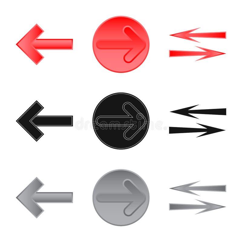 Geïsoleerd voorwerp van element en pijlpictogram Inzameling van element en richtingsvoorraadsymbool voor Web royalty-vrije illustratie