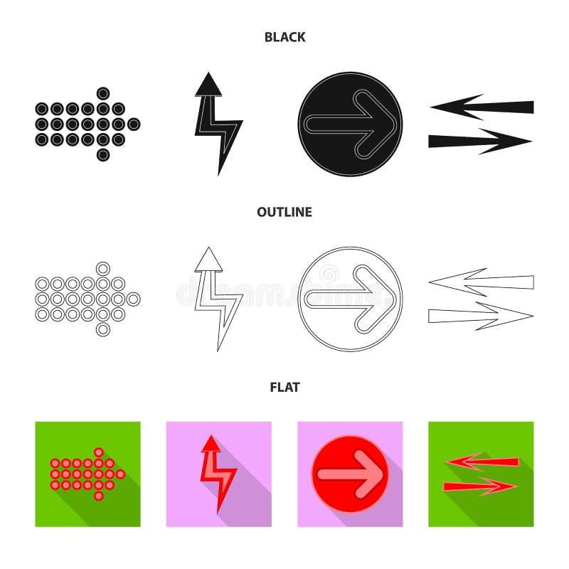 Geïsoleerd voorwerp van element en pijlsymbool Reeks van element en richtingsvoorraad vectorillustratie stock illustratie