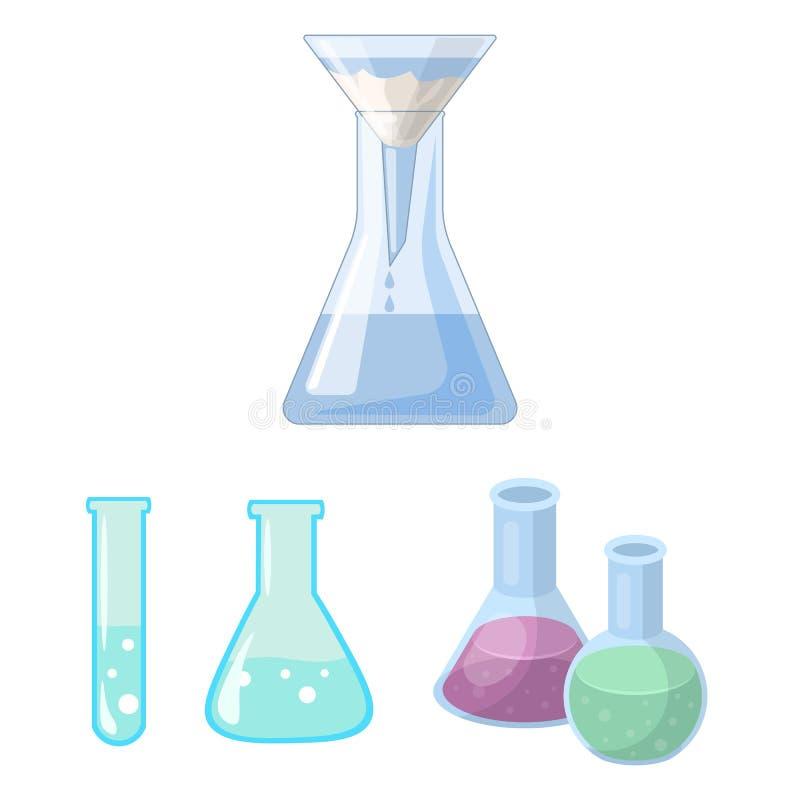 Geïsoleerd voorwerp van fles en laboratoriumpictogram Inzameling van fles en materiaalvoorraad vectorillustratie vector illustratie