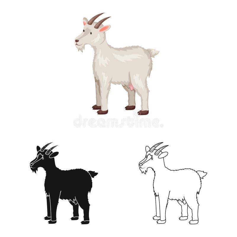 Geïsoleerd voorwerp van geit en huisdierenpictogram Inzameling van geit en melkvoorraad vectorillustratie stock illustratie