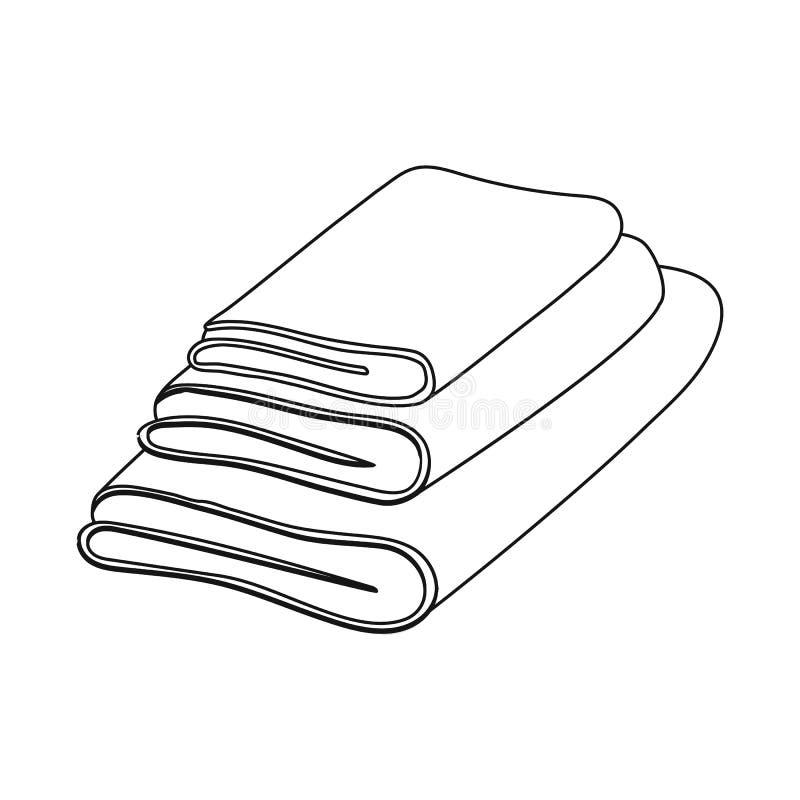 Geïsoleerd voorwerp van handdoek en opgestapeld pictogram Reeks van handdoek en douche vectorpictogram voor voorraad stock illustratie