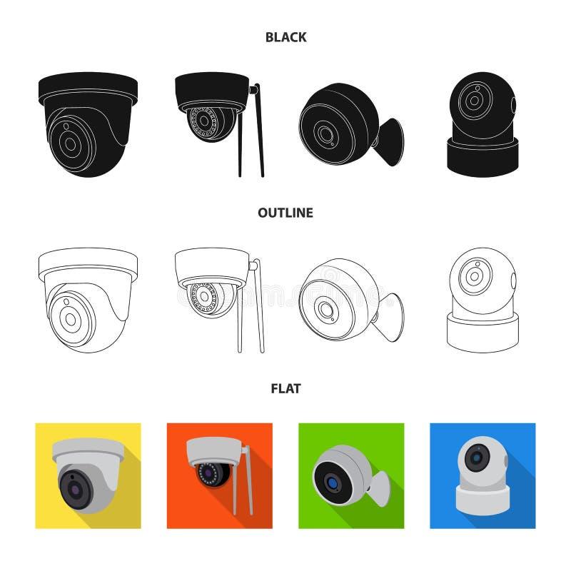 Geïsoleerd voorwerp van het pictogram van kabeltelevisie en van de camera Inzameling van kabeltelevisie en het symbool van de sys stock illustratie