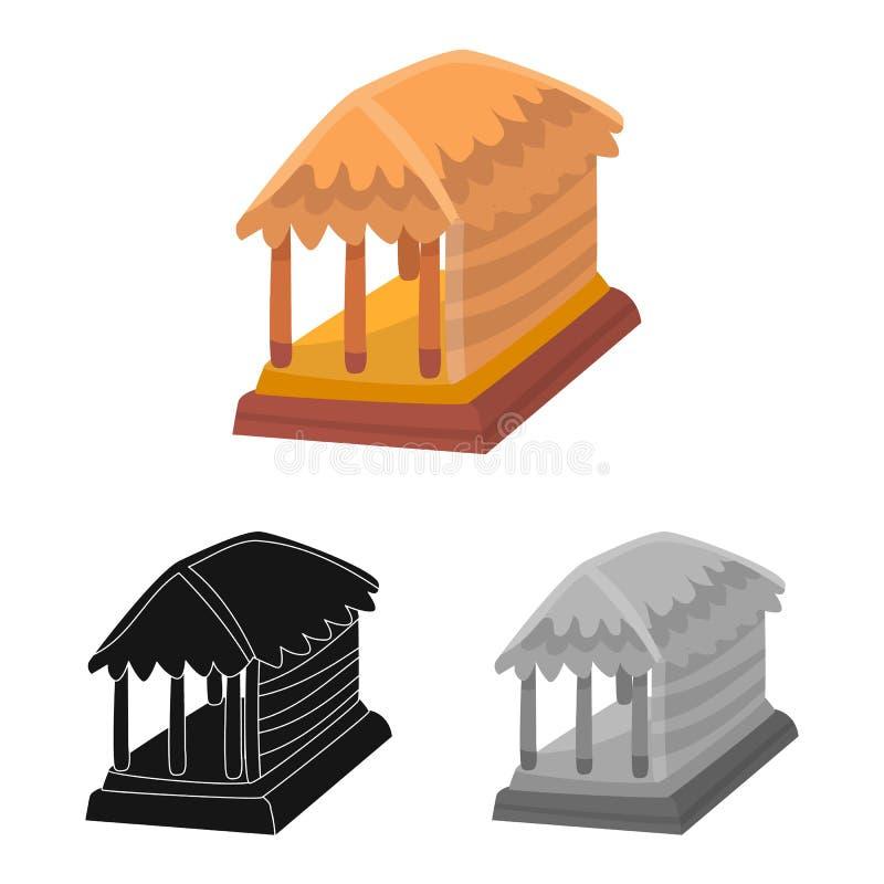 Geïsoleerd voorwerp van hut en huissymbool Inzameling van hut en gazebovoorraad vectorillustratie vector illustratie