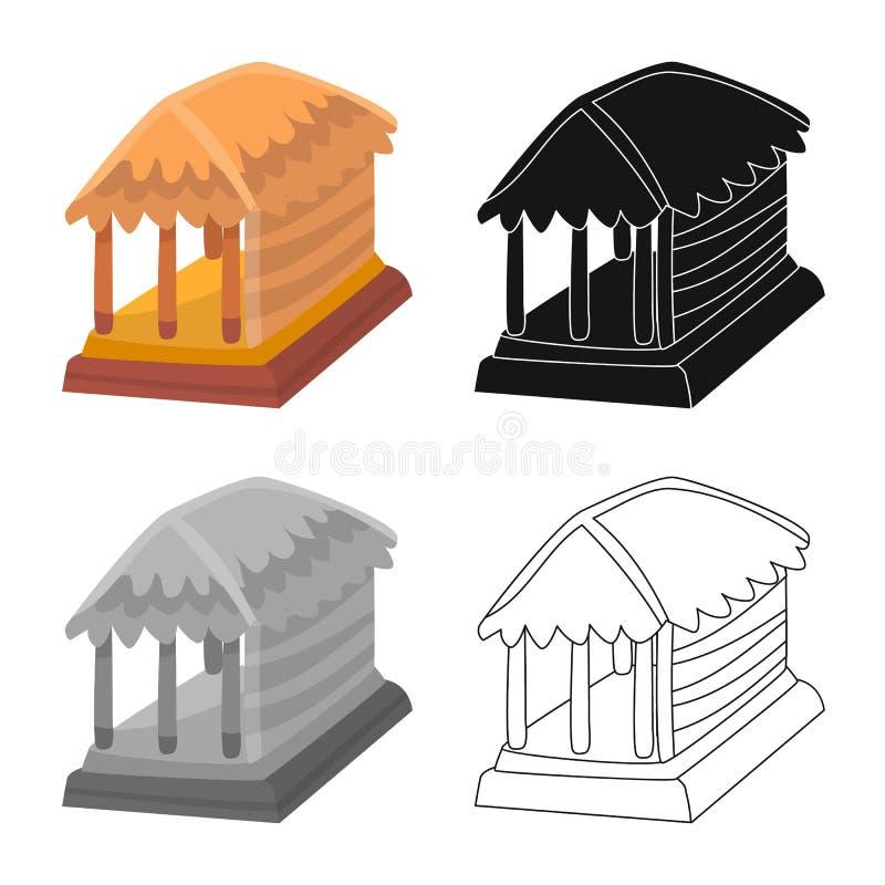 Geïsoleerd voorwerp van hut en huisteken Inzameling van hut en gazebovoorraad vectorillustratie stock illustratie