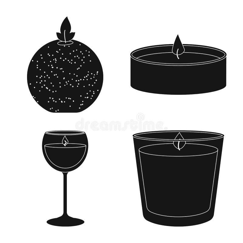 Geïsoleerd voorwerp van kaarslicht en decoratiesymbool Reeks van kaarslicht en de vectorillustratie van de wasvoorraad vector illustratie