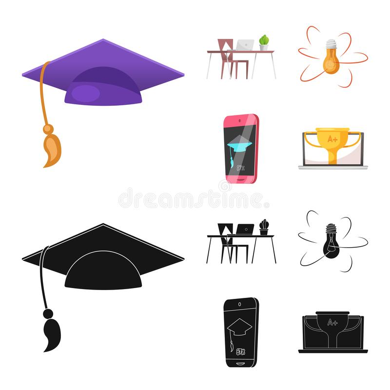 Geïsoleerd voorwerp van onderwijs en het leren symbool Inzameling van onderwijs en school vectorpictogram voor voorraad stock illustratie