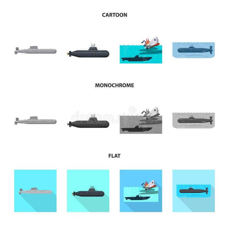 Geïsoleerd voorwerp van oorlog en schipsymbool Reeks van oorlog en vloot vectorpictogram voor voorraad royalty-vrije illustratie