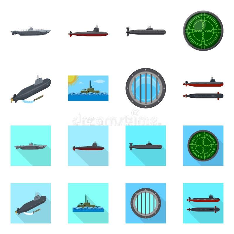 Geïsoleerd voorwerp van oorlog en schipteken Reeks van oorlog en de vectorillustratie van de vlootvoorraad stock illustratie