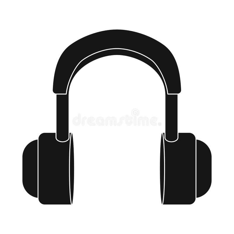 Geïsoleerd voorwerp van oortelefoon en hoofdteken Reeks van oortelefoon en mobiel vectorpictogram voor voorraad stock illustratie