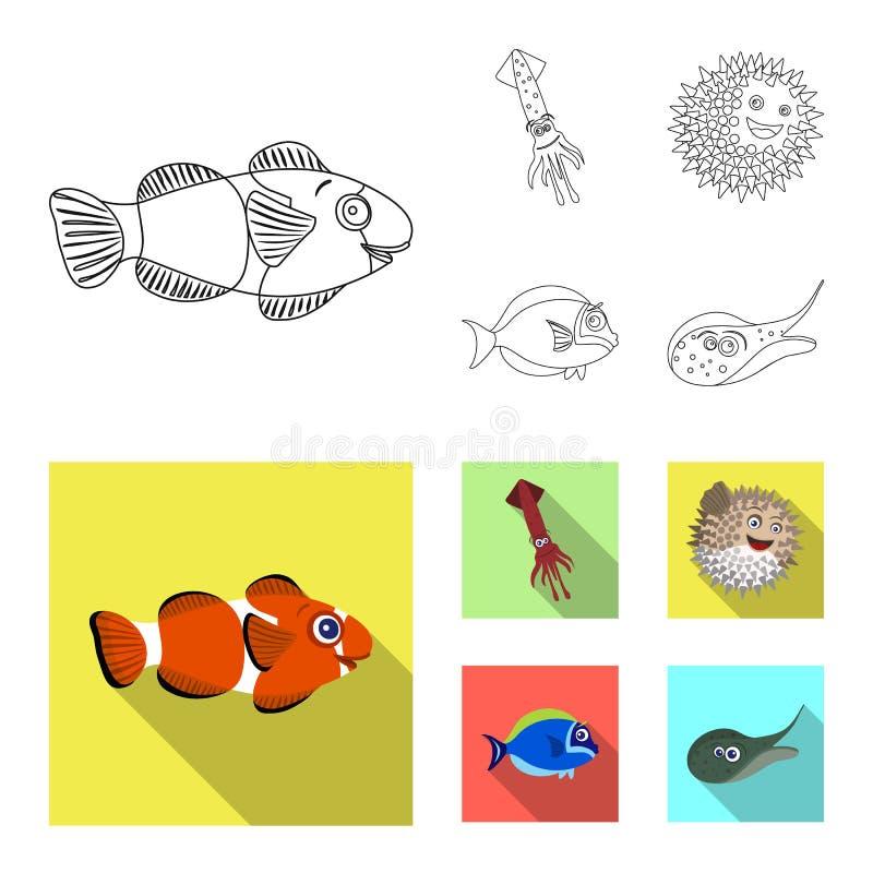 Geïsoleerd voorwerp van overzees en dierlijk symbool Reeks van overzees en marien vectorpictogram voor voorraad stock illustratie