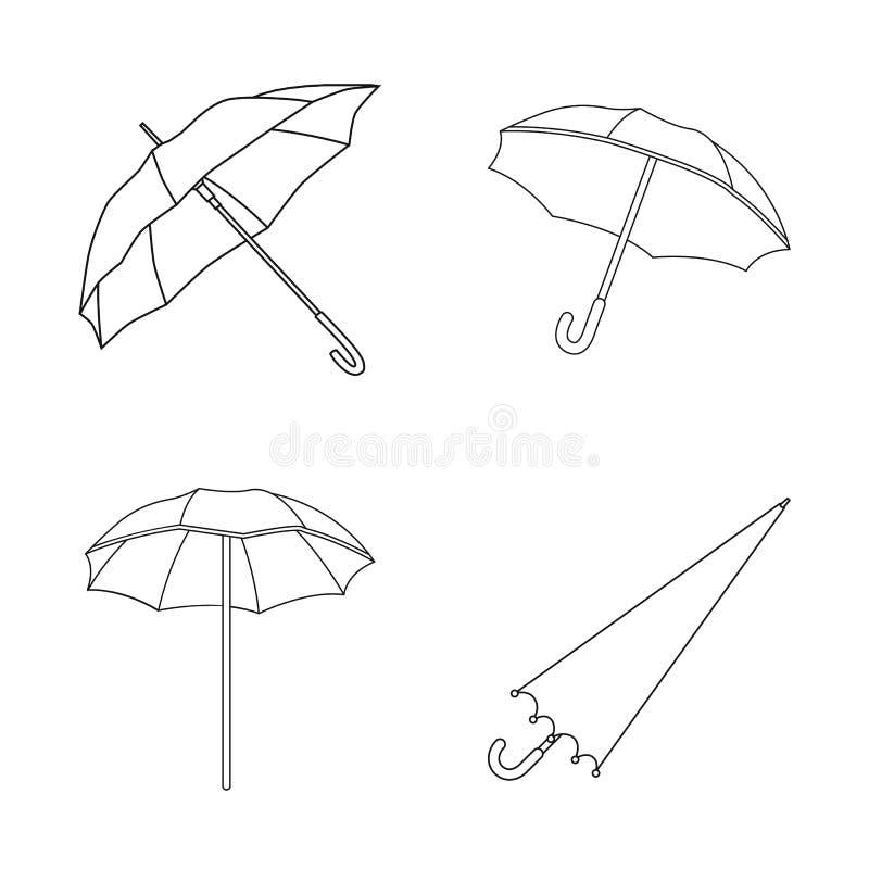 Geïsoleerd voorwerp van paraplu en wolkenembleem Reeks van paraplu en regen vectorpictogram voor voorraad royalty-vrije illustratie