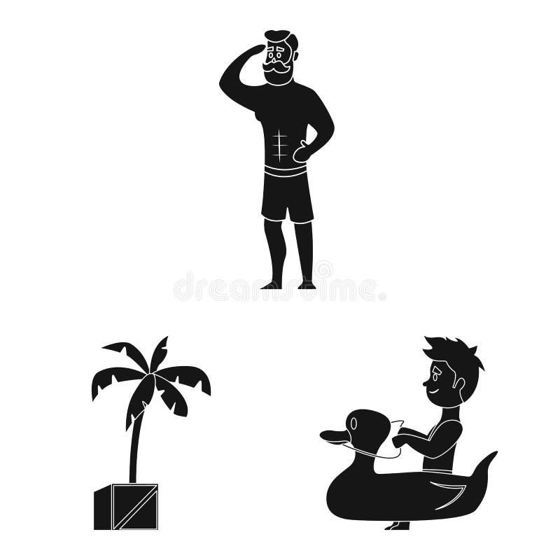 Geïsoleerd voorwerp van pool en zwemmend symbool Inzameling van pool en activiteiten vectorpictogram voor voorraad vector illustratie