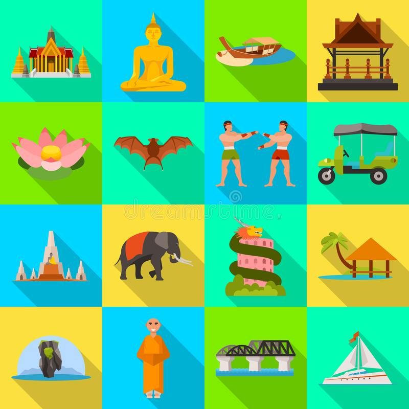 Geïsoleerd voorwerp van reis en exotisch teken Reeks van reis en nationaal voorraadsymbool voor Web royalty-vrije illustratie
