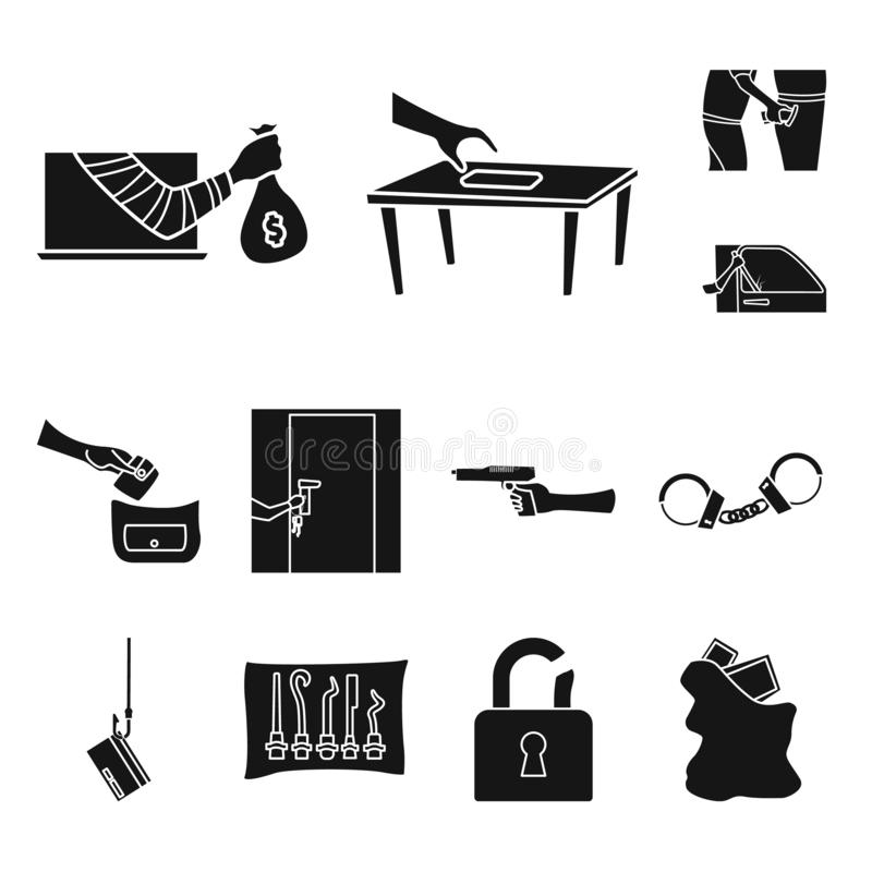 Geïsoleerd voorwerp van rover en schurkensymbool Reeks van rover en politievoorraadsymbool voor Web vector illustratie
