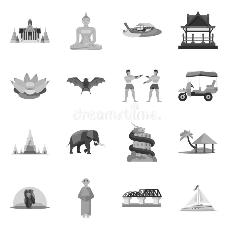 Geïsoleerd voorwerp van traditioneel en toerismesymbool Reeks van traditioneel en exotisch voorraadsymbool voor Web stock illustratie