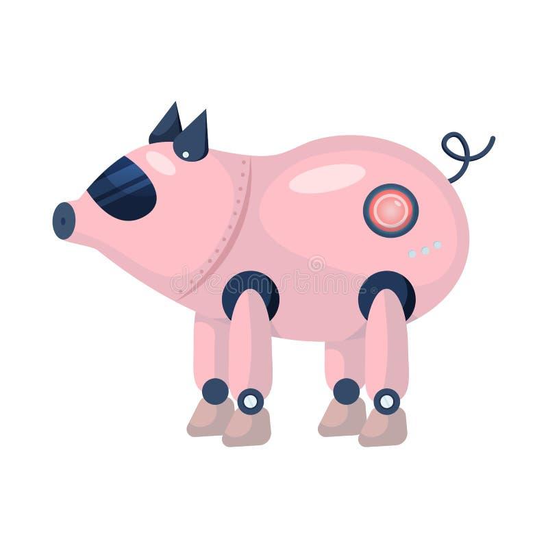 Geïsoleerd voorwerp van varken en robotachtig embleem Inzameling van varken en de vectorillustratie van de cyberneticavoorraad vector illustratie