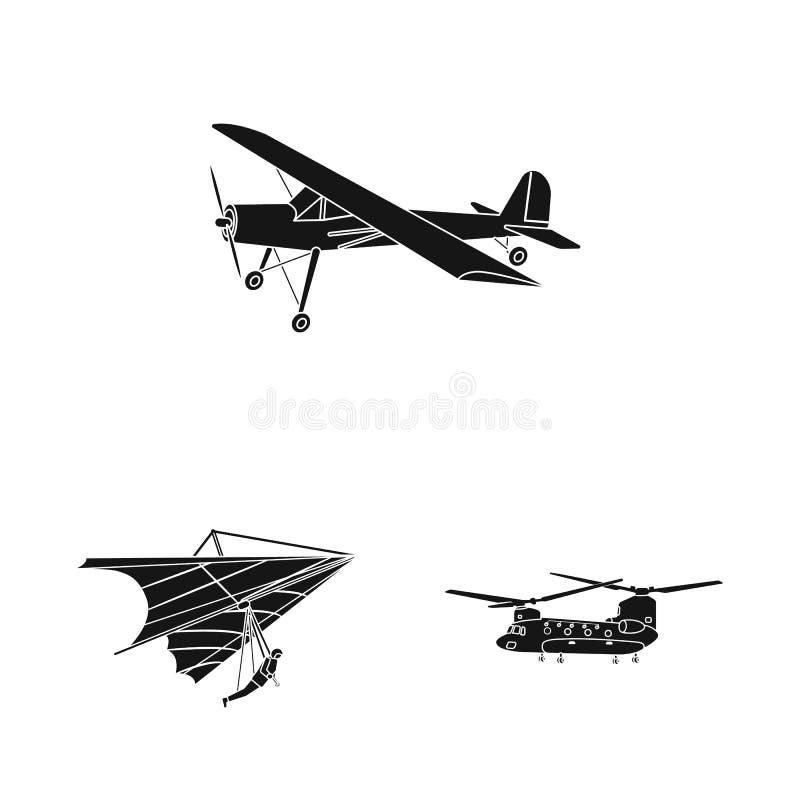 Geïsoleerd voorwerp van vliegtuig en vervoerembleem Inzameling van vliegtuig en de vectorillustratie van de hemelvoorraad royalty-vrije illustratie