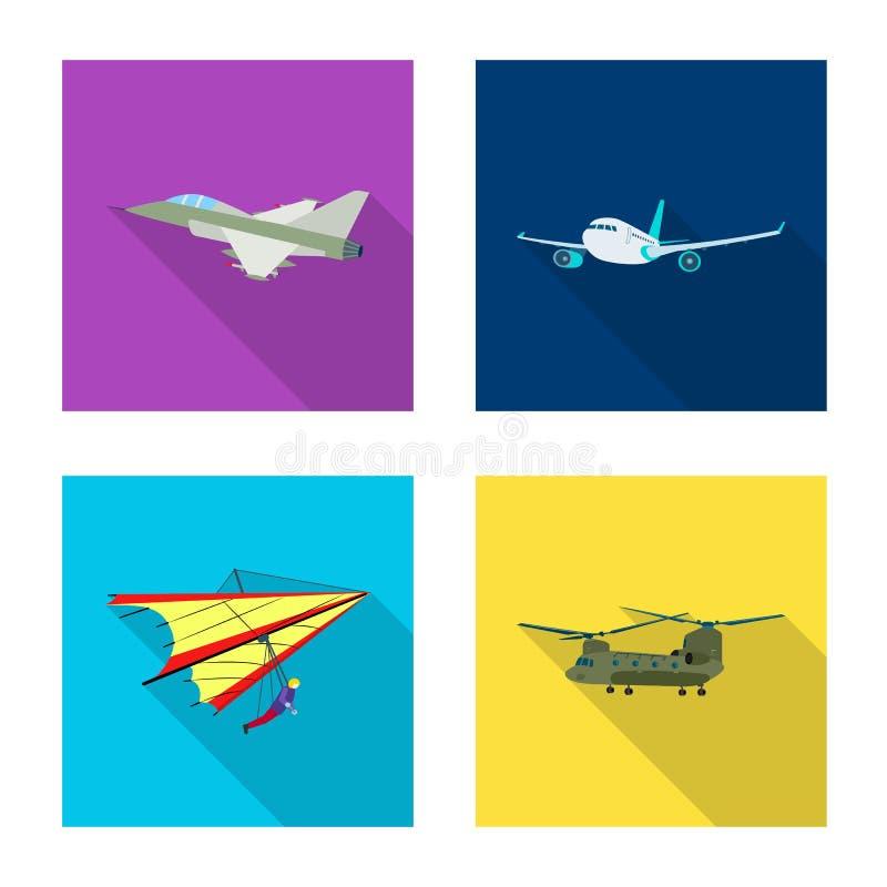 Geïsoleerd voorwerp van vliegtuig en vervoerembleem Inzameling van vliegtuig en hemelvoorraadsymbool voor Web royalty-vrije illustratie