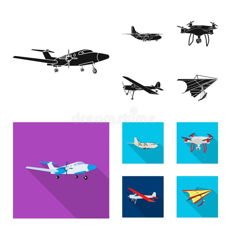 Geïsoleerd voorwerp van vliegtuig en vervoerembleem Reeks van vliegtuig en hemel vectorpictogram voor voorraad royalty-vrije illustratie