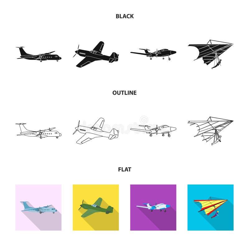Geïsoleerd voorwerp van vliegtuig en vervoerembleem Reeks van vliegtuig en hemel vectorpictogram voor voorraad vector illustratie