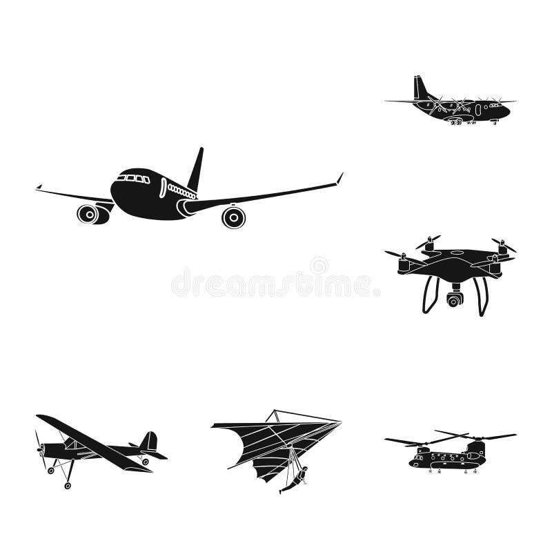 Geïsoleerd voorwerp van vliegtuig en vervoerembleem Reeks van vliegtuig en hemelvoorraadsymbool voor Web vector illustratie