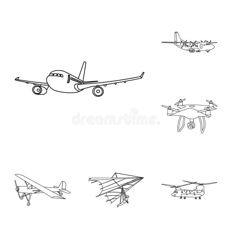 Geïsoleerd voorwerp van vliegtuig en vervoerpictogram Inzameling van vliegtuig en de vectorillustratie van de hemelvoorraad royalty-vrije illustratie