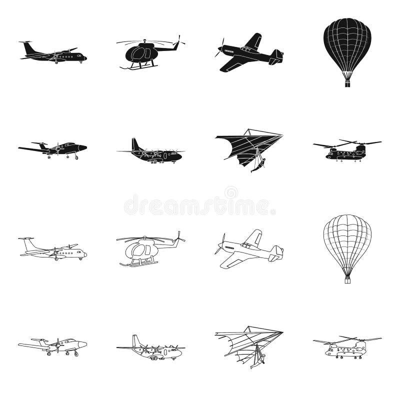 Geïsoleerd voorwerp van vliegtuig en vervoerpictogram Inzameling van vliegtuig en hemelvoorraadsymbool voor Web stock illustratie