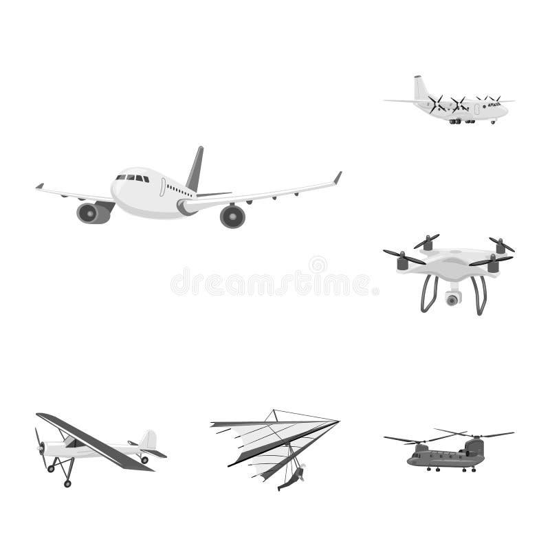 Geïsoleerd voorwerp van vliegtuig en vervoerpictogram Reeks van vliegtuig en de vectorillustratie van de hemelvoorraad royalty-vrije illustratie