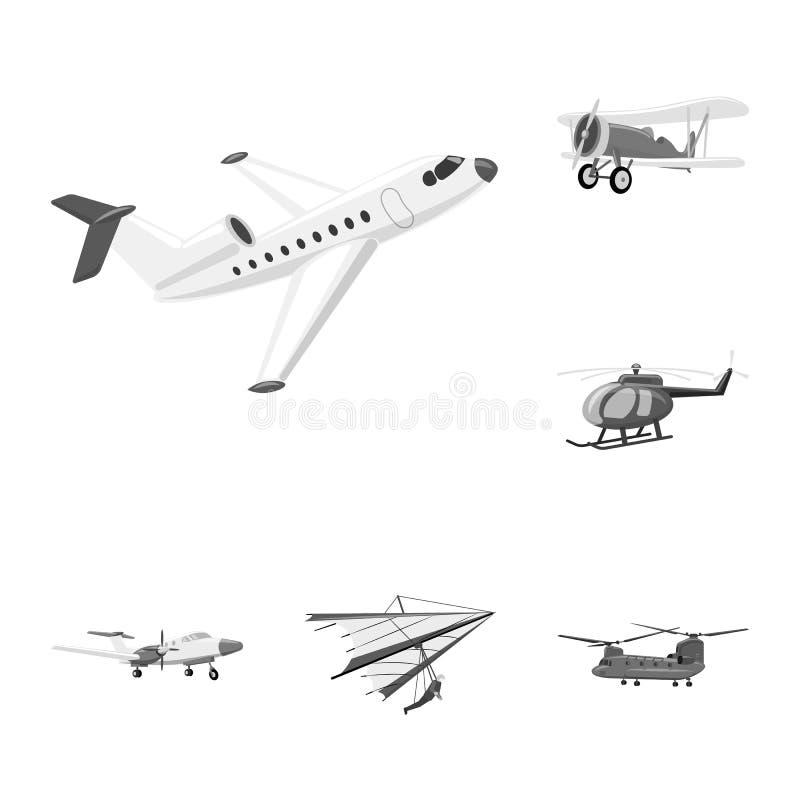 Geïsoleerd voorwerp van vliegtuig en vervoerpictogram Reeks van vliegtuig en hemel vectorpictogram voor voorraad royalty-vrije illustratie