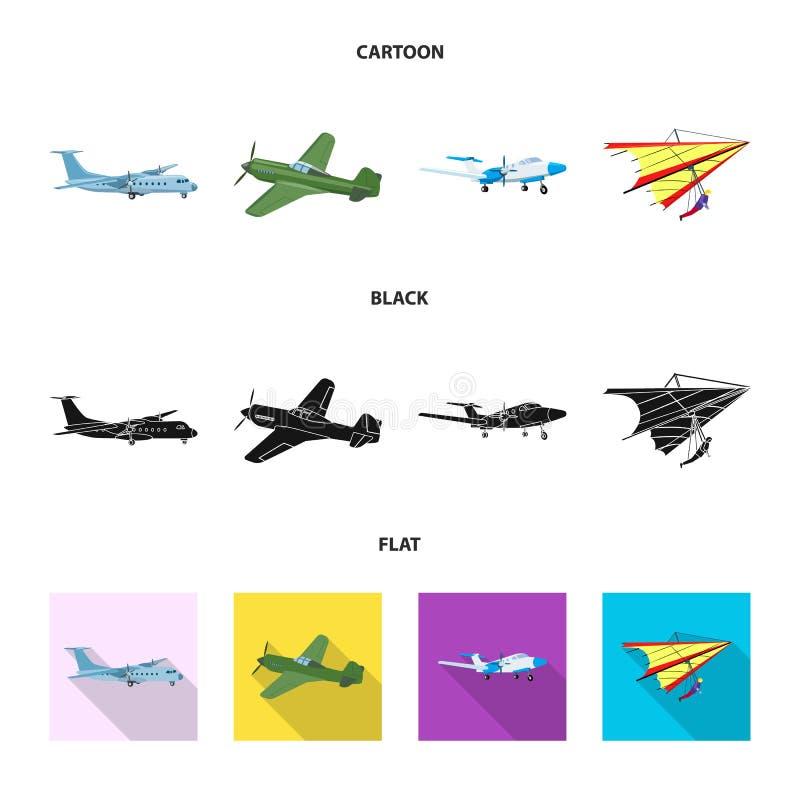 Geïsoleerd voorwerp van vliegtuig en vervoerpictogram Reeks van vliegtuig en hemelvoorraadsymbool voor Web royalty-vrije illustratie
