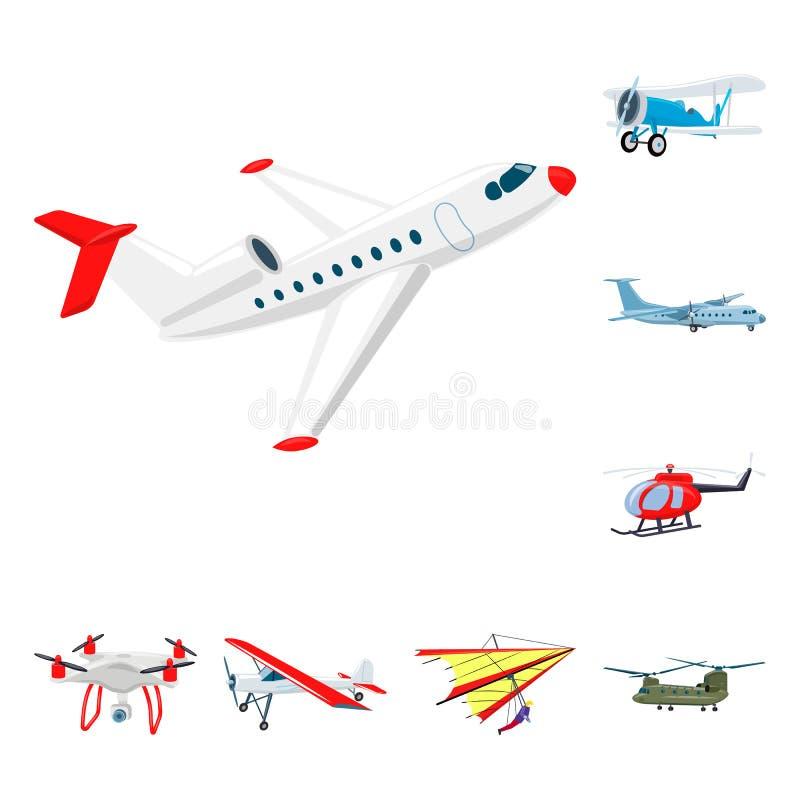 Geïsoleerd voorwerp van vliegtuig en vervoersymbool Reeks van vliegtuig en hemel vectorpictogram voor voorraad vector illustratie