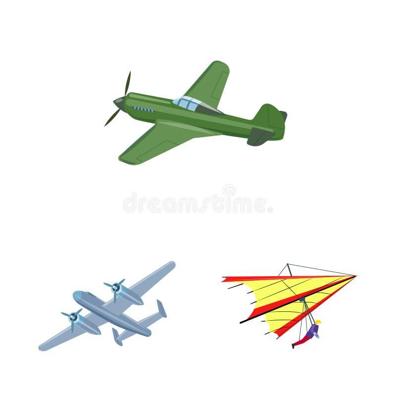 Geïsoleerd voorwerp van vliegtuig en vervoerteken Reeks van vliegtuig en de vectorillustratie van de hemelvoorraad stock illustratie