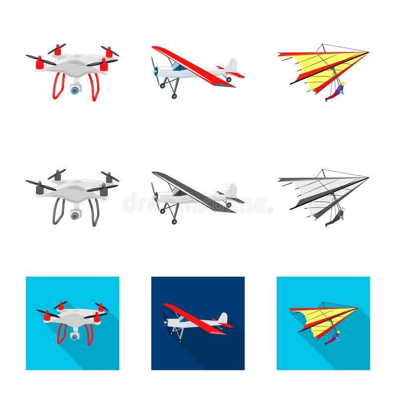 Geïsoleerd voorwerp van vliegtuig en vervoerteken Reeks van vliegtuig en hemelvoorraadsymbool voor Web vector illustratie