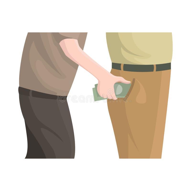 Geïsoleerd voorwerp van zakkenroller en diefstalembleem Reeks van zakkenroller en geld vectorpictogram voor voorraad royalty-vrije illustratie