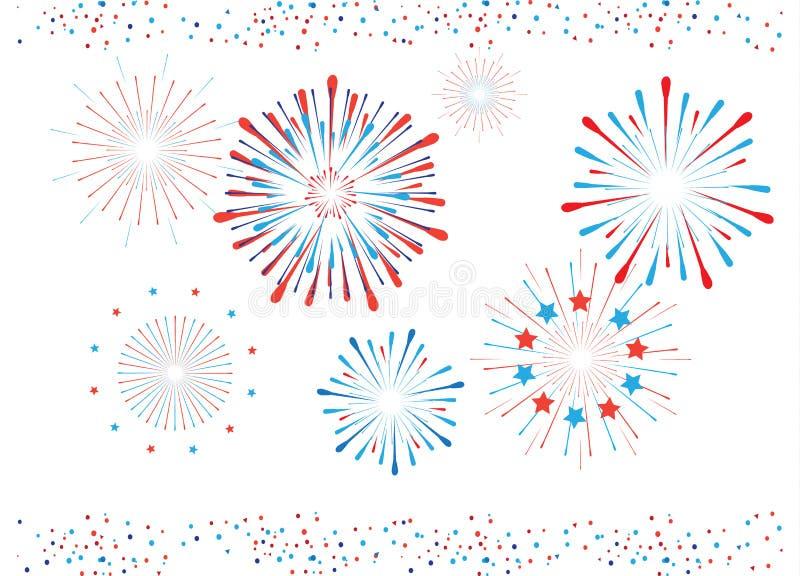 Geïsoleerd vuurwerk en confettien royalty-vrije illustratie