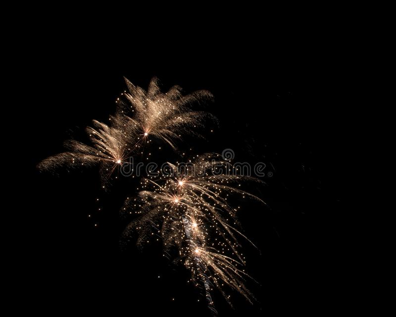 Geïsoleerd Vuurwerk op een Zwarte Achtergrond stock foto's