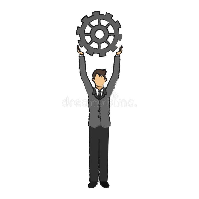 Geïsoleerd zakenman en toestelontwerp vector illustratie
