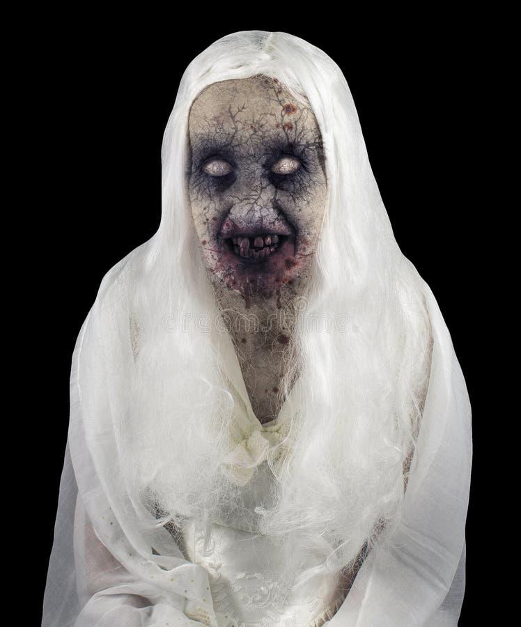 Geïsoleerd zombiespook stock foto