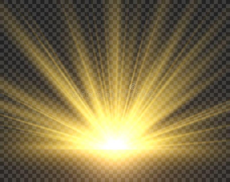 Geïsoleerd zonlicht De gouden uitstraling van zonstralen De gele heldere vectorillustratie van de schijnwerper transparante zonne royalty-vrije stock foto