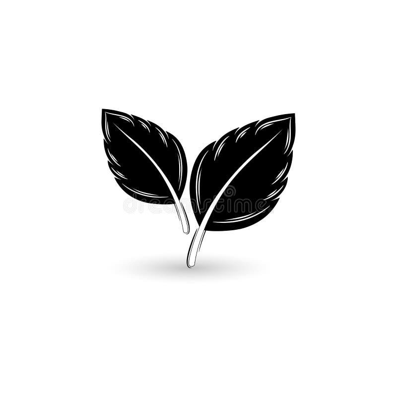 Geïsoleerd zwart blad vector illustratie