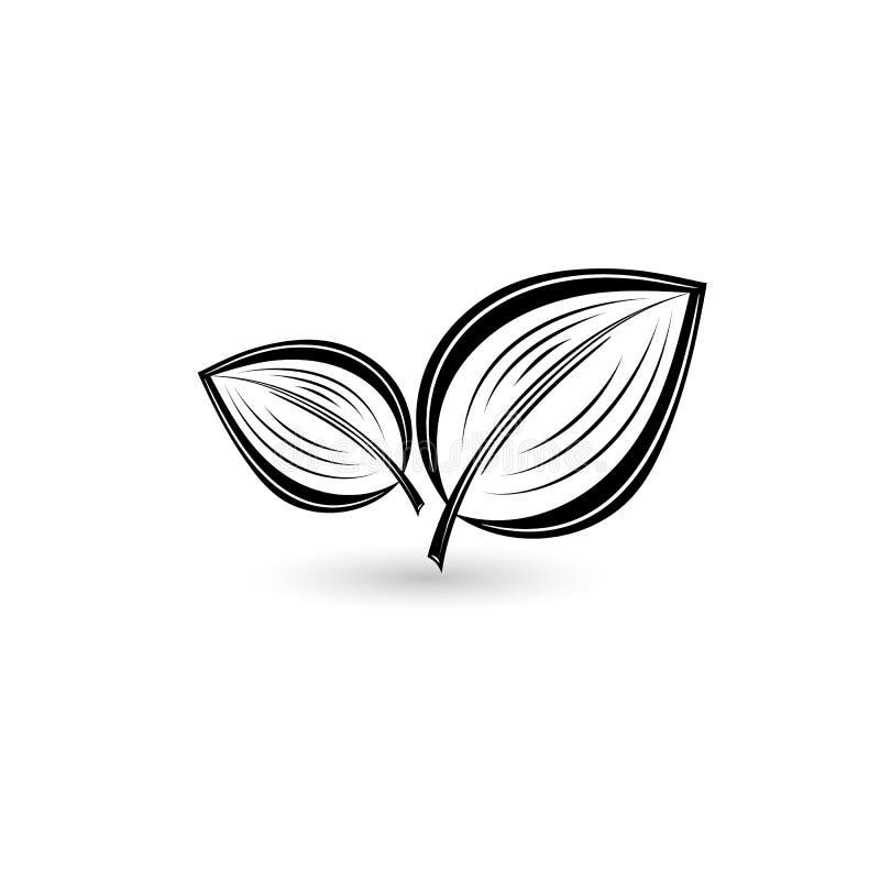 Geïsoleerd zwart blad stock illustratie